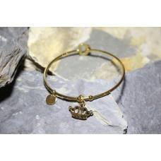 Pulseiras escravas dourada em aço com coroa