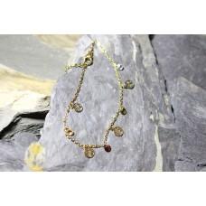 Pulseiras malha aço dourada com árvores vida e pedras