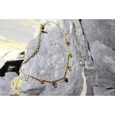 Pulseiras malha aço dourada com anjos e pedras