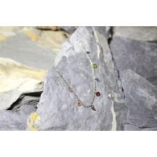 Pulseiras malha aço prateada com asas anjo e pedras