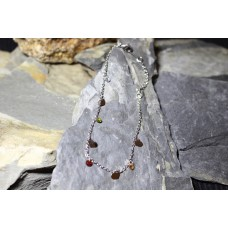 Pulseiras malha aço prateada com corações e pedras