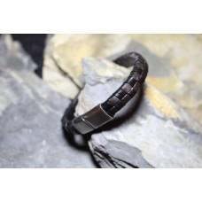 Pulseira aço com pele castanha e preta entrelaçada com 20.5cm