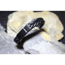 Pulseira aço com pele preta entrelaçada com 22cm